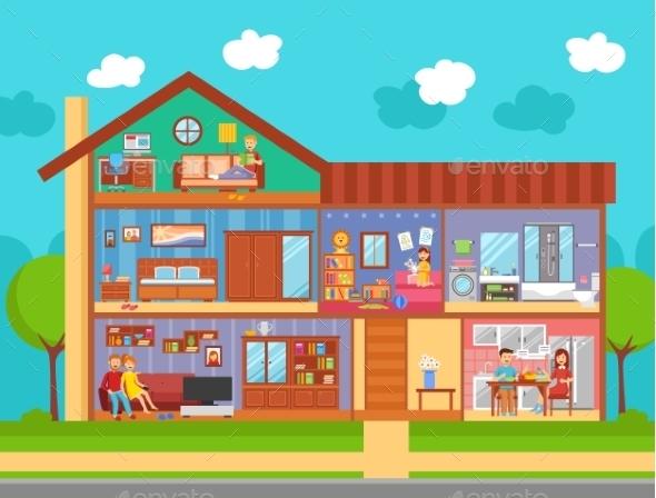 Family Home Interior Design Concept - Decorative Symbols Decorative