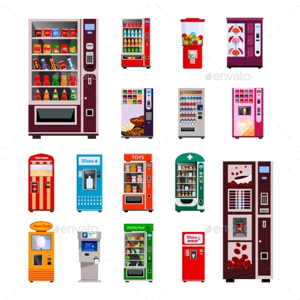 Vending Machines Icons Set  - Services Commercial / Shopping