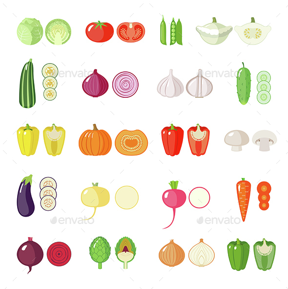 Set of Vegetables Icons - Food Objects