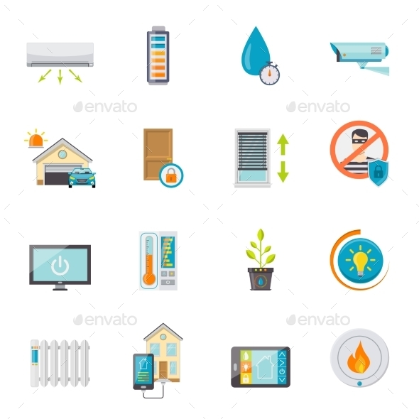 Smart House Flat Icons Set - Communications Technology