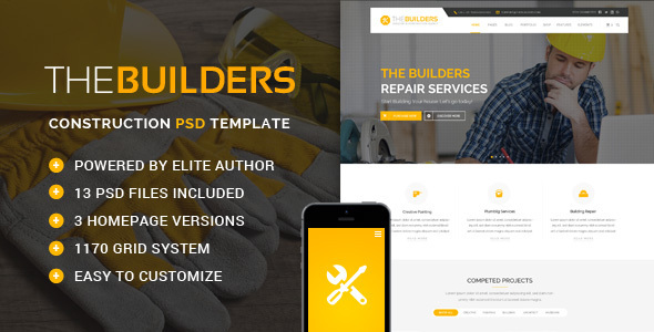 The Builders – Construction PSD Template