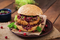 Hamburger with juicy turkey burger with cheese, caramelized onions and cranberry sauce - PhotoDune Item for Sale