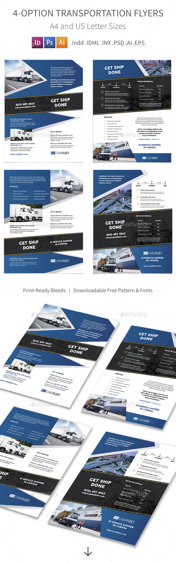 Transportation Company Flyers – 4 Options - Corporate Flyers