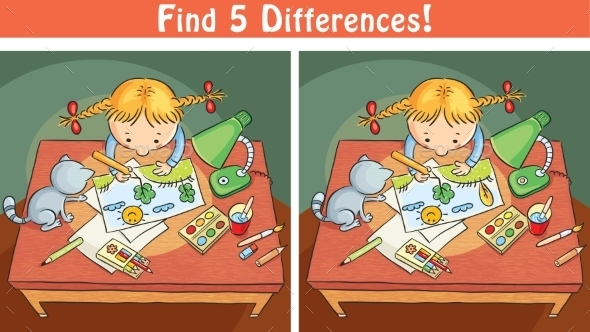 Find Differences Game With a Cartoon Girl Drawing - People Characters