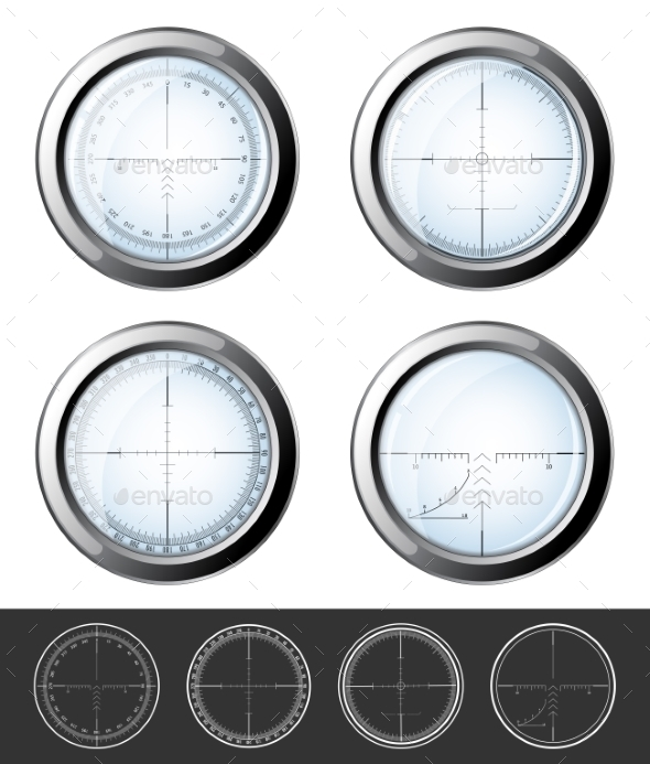 Sniper  Crosshairs Set - Objects Vectors
