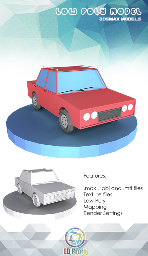 Low Poly Car Model 01 - 3DOcean Item for Sale