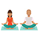 Young Man and Woman Doing Yoga - GraphicRiver Item for Sale