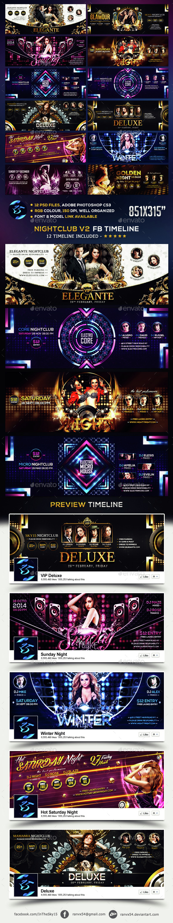Nightclub V2 FB Timeline Cover - Social Media Web Elements