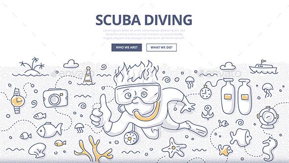 Scuba Diving Doodle Concept - Sports/Activity Conceptual