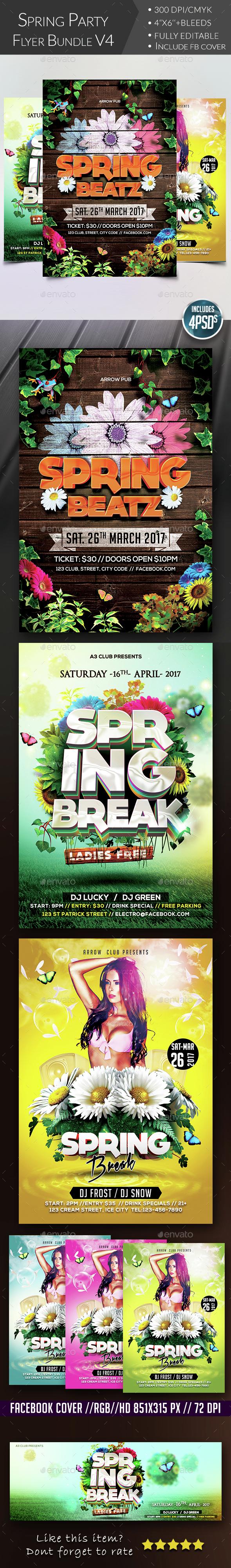 Spring Flyer Bundle V4 - Clubs & Parties Events