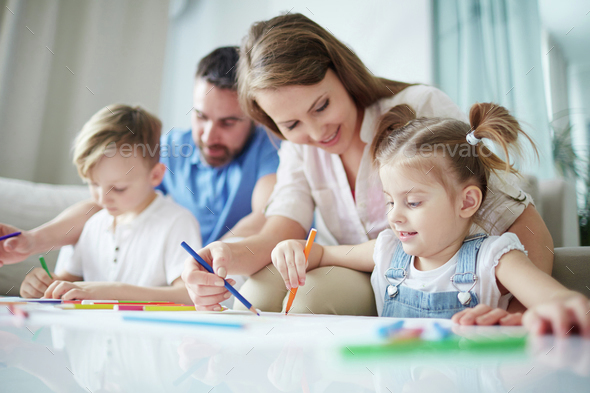 Family drawing - Stock Photo - Images