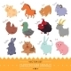 Set of Cartoon Farm Animal Icons - GraphicRiver Item for Sale
