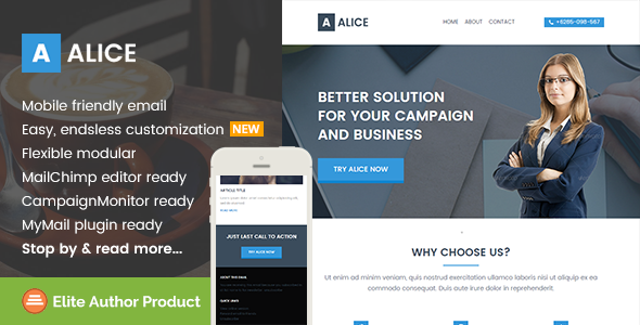 Alice, Business Email Template + Builder Access by saputrad