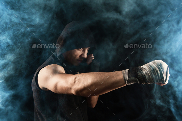 Close-up hand of muscular man with bandage - Stock Photo - Images
