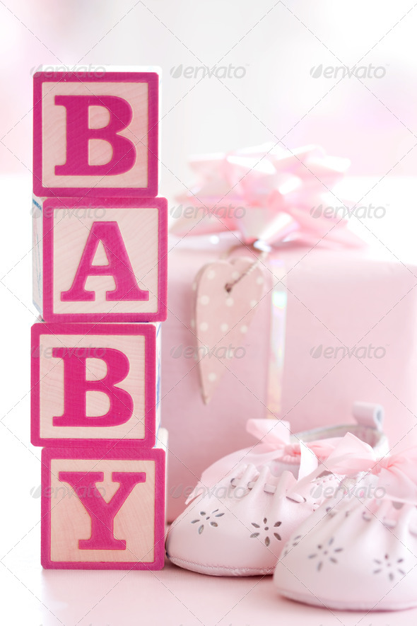 Pink baby building blocks - Stock Photo - Images