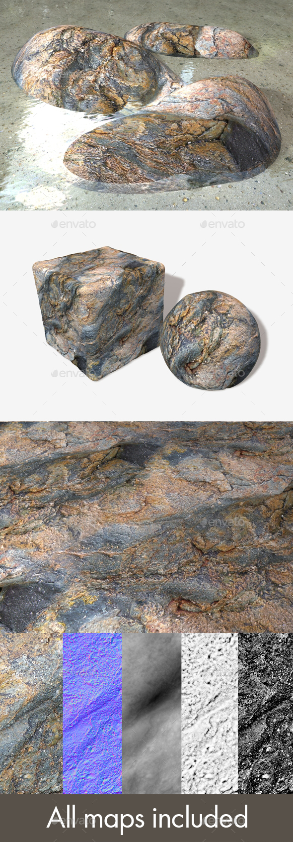 Sea Rock Seamless Texture - 3DOcean Item for Sale