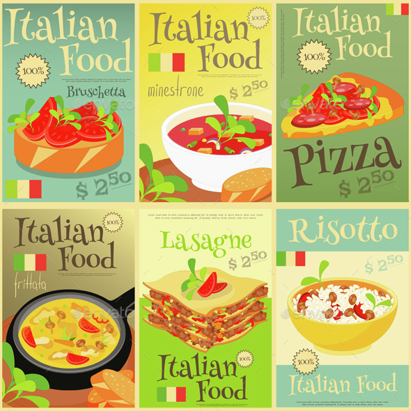 Italian Food Posters Set - Food Objects