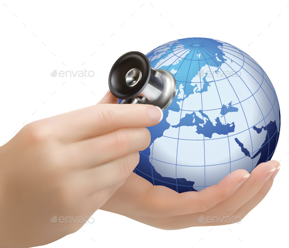 Doctor with Stethoscope Holding Globe - Health/Medicine Conceptual