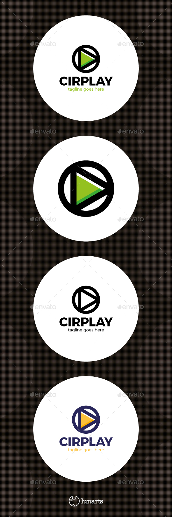 Circle Play Media Logo - Symbols Logo Templates