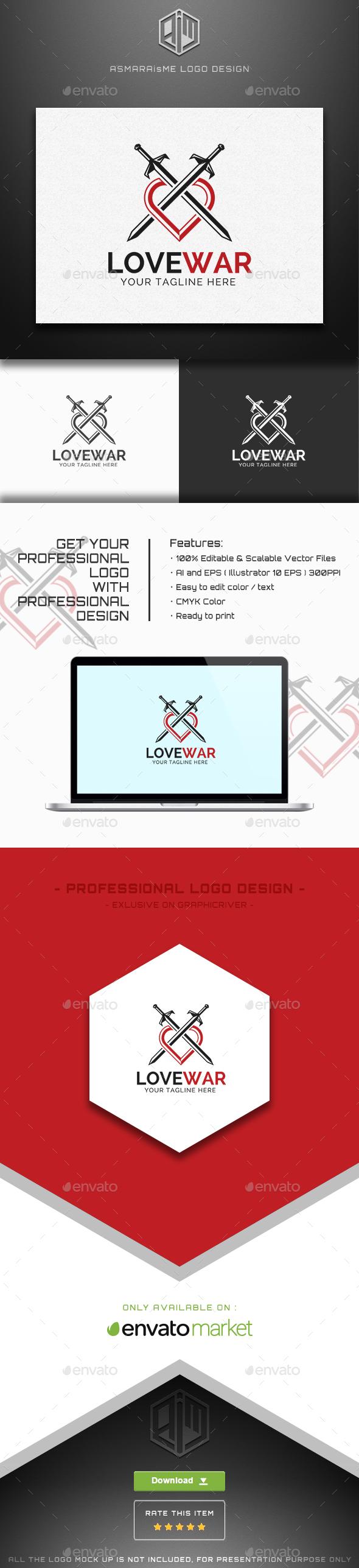 Love War / Love Warior Logo - Abstract Logo Templates