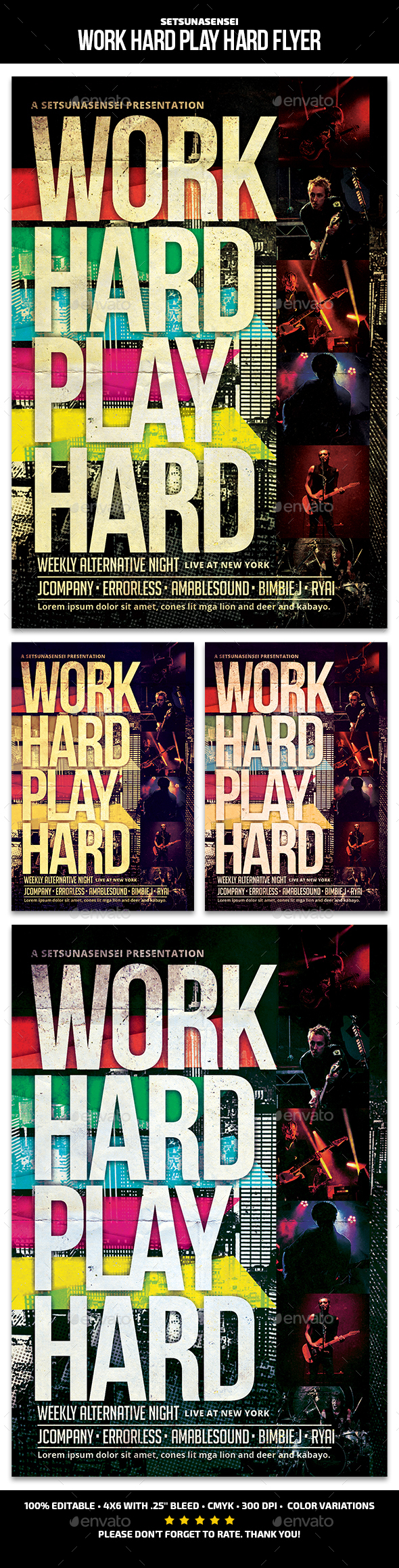 Work Hard Play Hard Flyer - Concerts Events