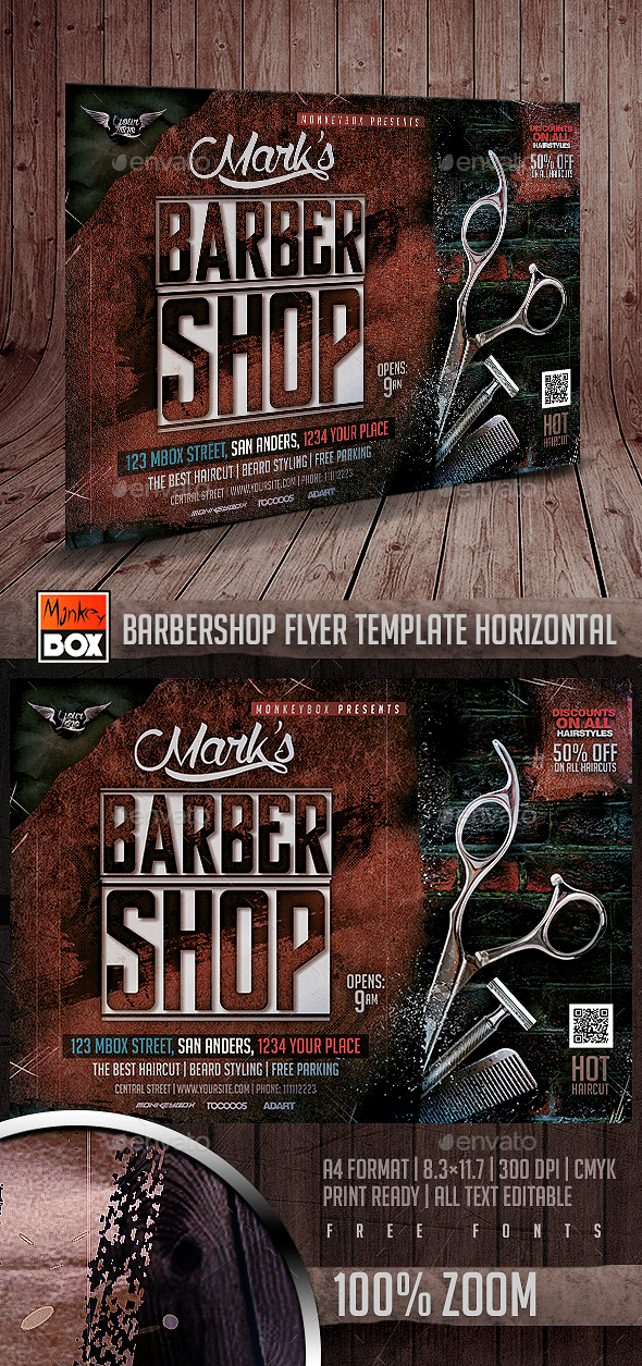 Barbershop Flyer Template Horizontal - Flyers Print Templates