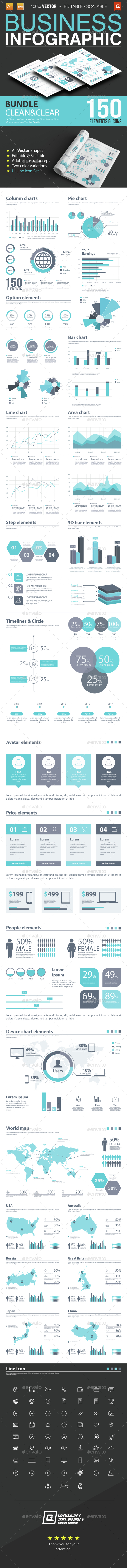 Business Infographic Bundle 150 Elements - Infographics