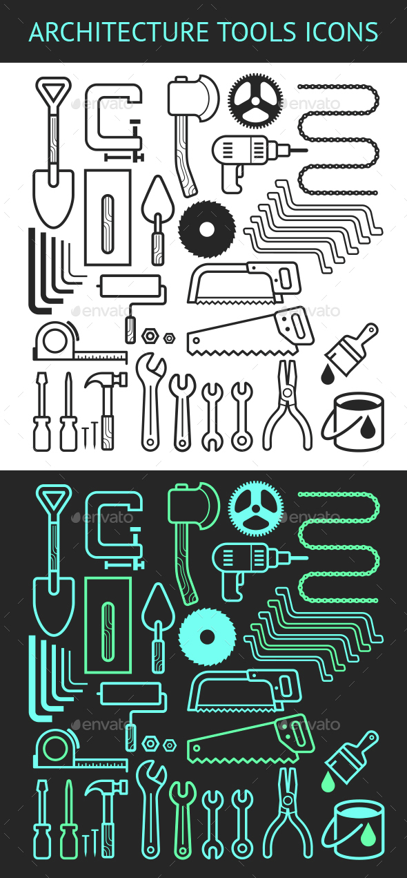 Architecture and Construction Tools Icons Set. - Icons