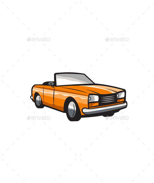 Vintage Cabriolet Top-Down Car Isolated Retro - Travel Conceptual