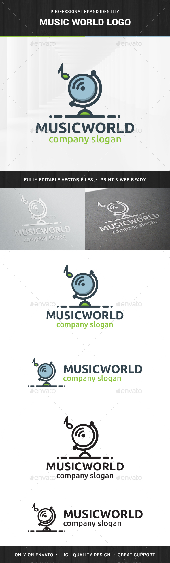 Music World Logo Template - Objects Logo Templates