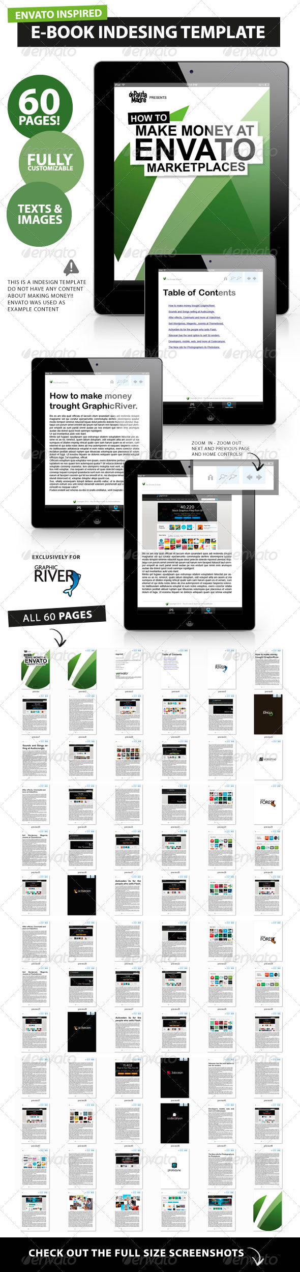 60 pages e book magazine book indesign template by depautamadre