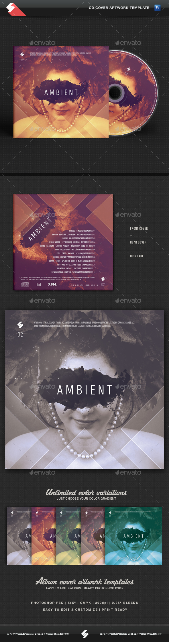 Ambient - CD Cover Artwork Template - CD & DVD Artwork Print Templates