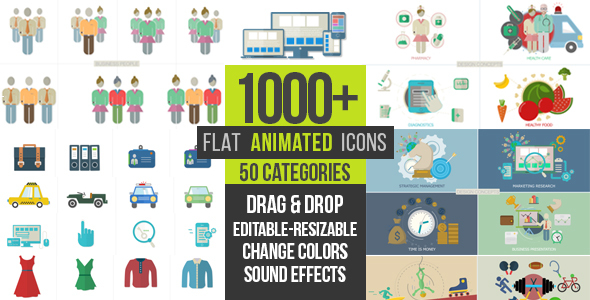Flat Animated Icons 1000&