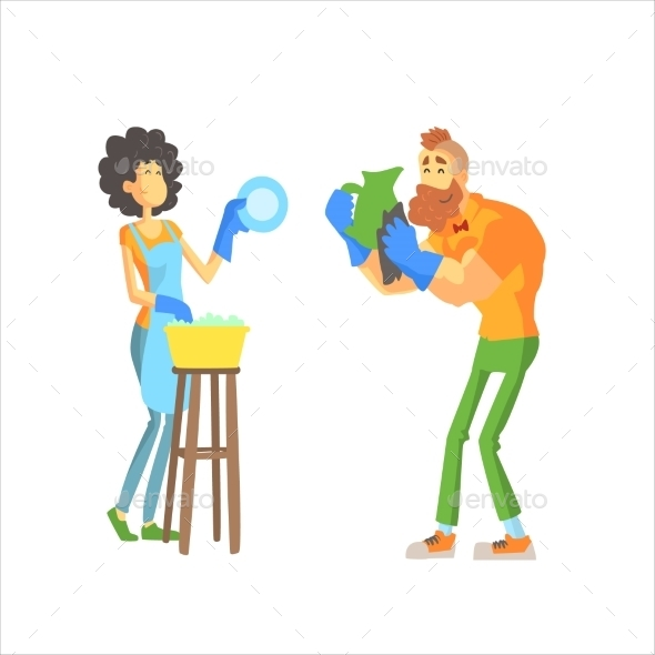 Couple Washing Dishes Together - People Characters