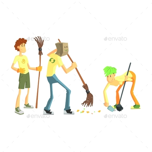 Three Person Collecting Garbage - People Characters