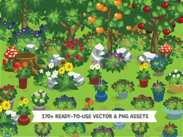 2D Cartoon Forest Trees & Plants