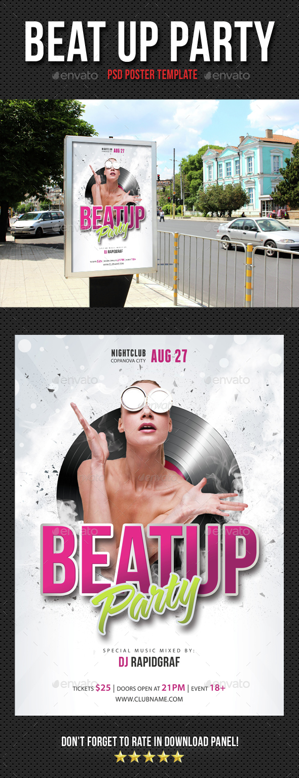Beat Up Party Poster - Signage Print Templates