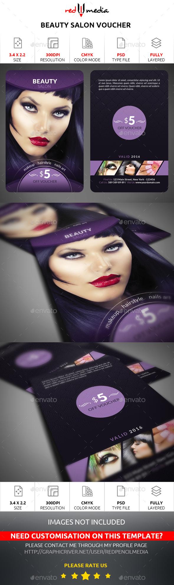 Beauty Salon Voucher Card - Loyalty Cards Cards & Invites