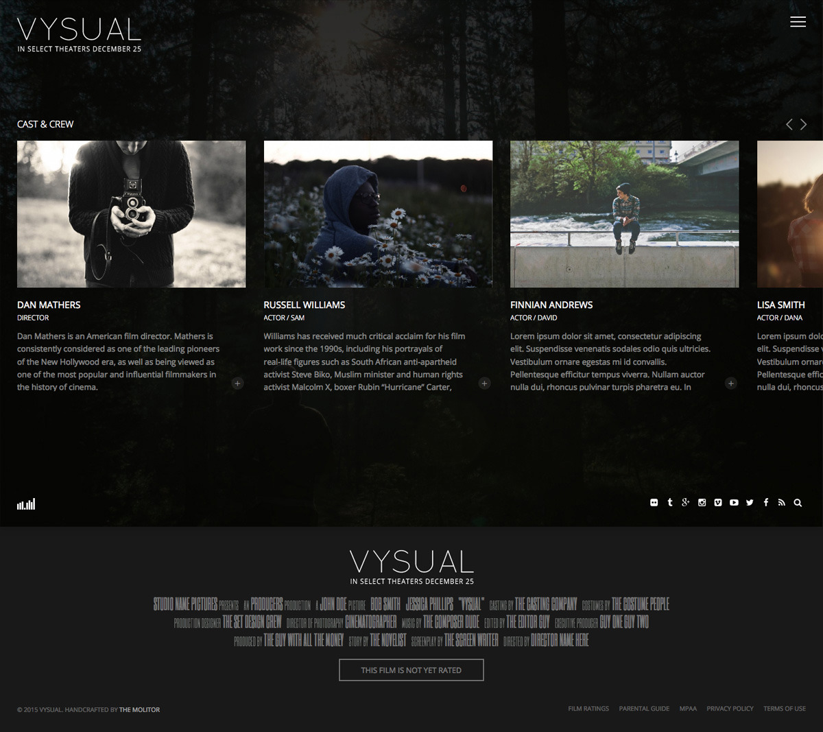 VYSUAL Responsive Film Campaign HTML Template By TheMOLITOR - Cinematographer website templates