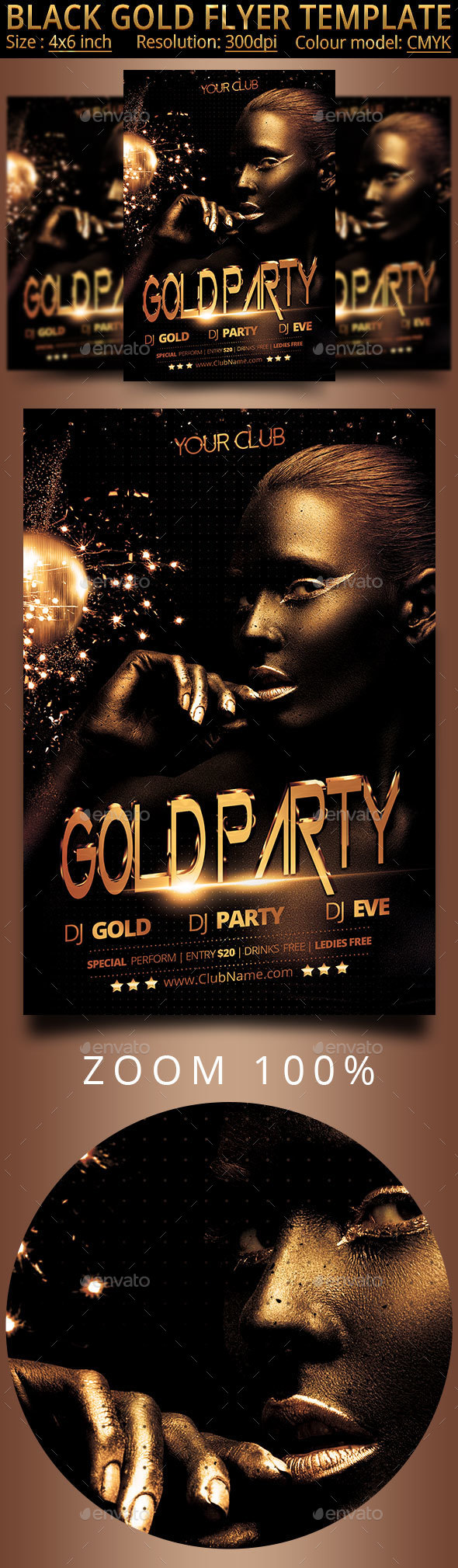 Gold Flyer Black Template - Clubs & Parties Events