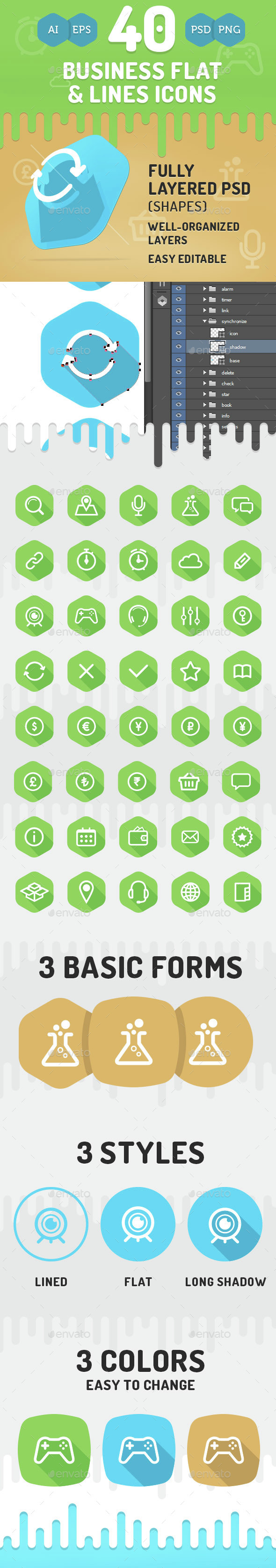 40 Business Flat & Lines Icons - Business Icons