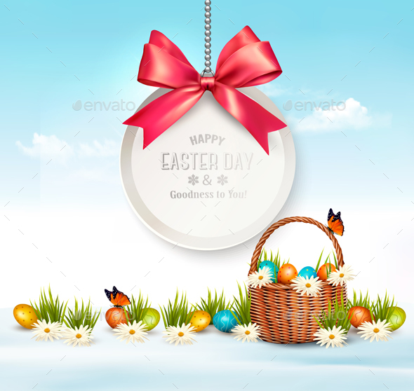 Holiday Easter Background with Eggs in a Basket - Miscellaneous Seasons/Holidays