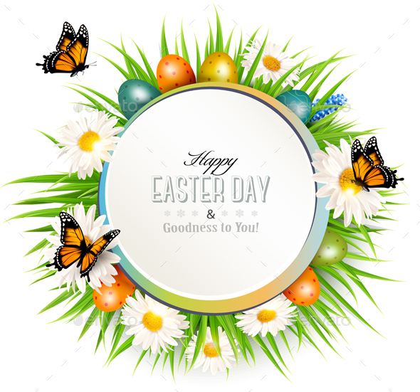 Happy Easter Background with Grass and Colorful Eggs - Miscellaneous Seasons/Holidays