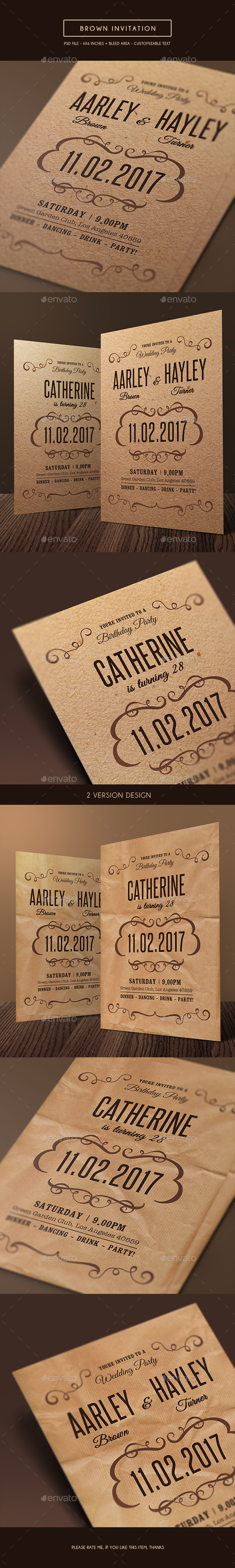 Brown Invitation - Invitations Cards & Invites