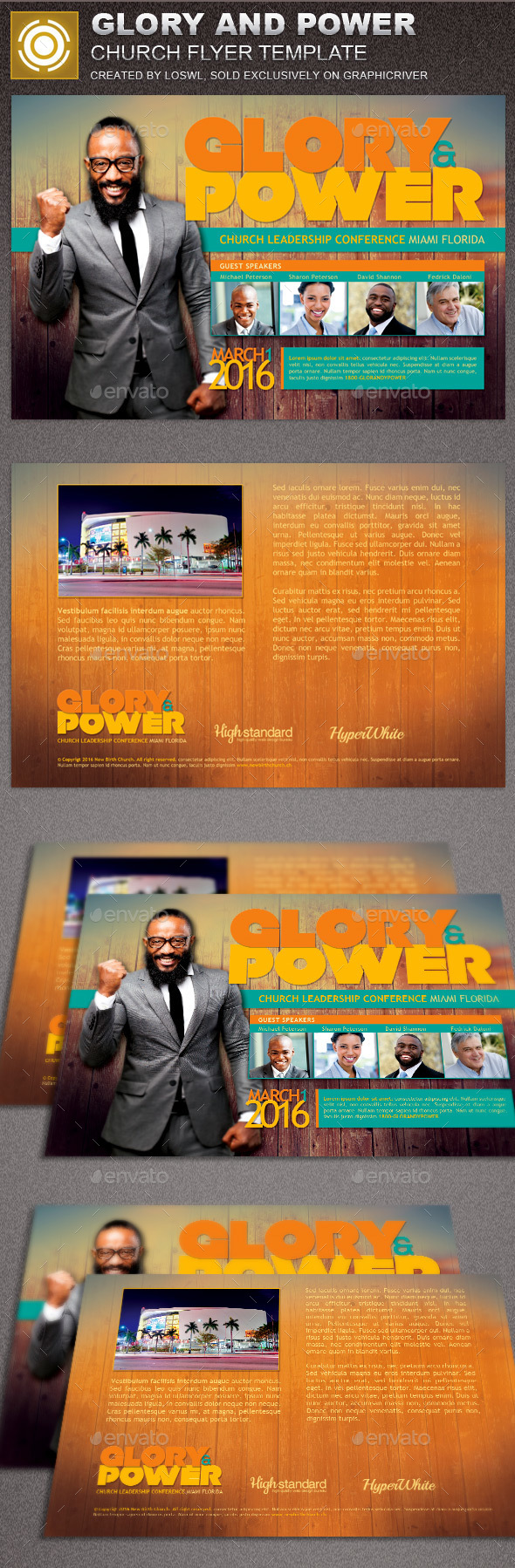 Glory and Power Church Flyer Template - Church Flyers