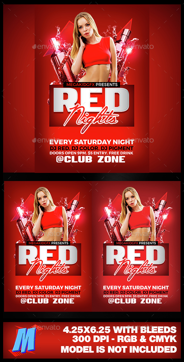 Red Nights Flyer Template - Clubs & Parties Events
