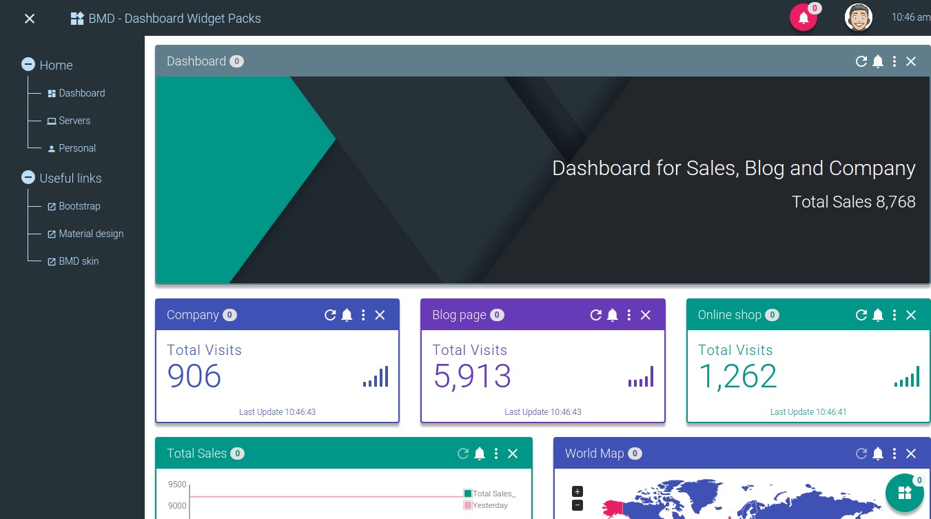 Bootstrap + Material Design - Dashboard Widgets Pack by