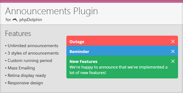 Announcements Plugin for phpDolphin - CodeCanyon Item for Sale