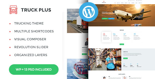 Truck Plus - Transportation and Logistics Service WordPress Theme - Business Corporate