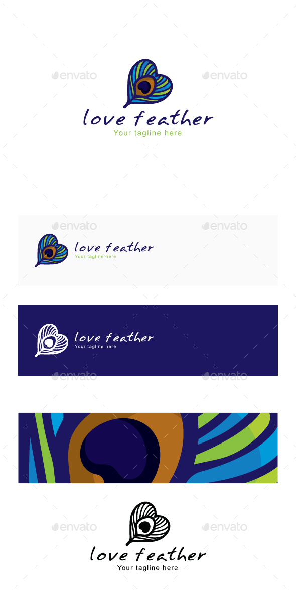 Love Feather - Peacock Bird Quill Creative Stock Logo Template - Abstract Logo Templates